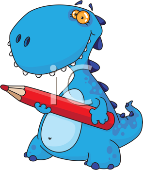 Royalty Free Clipart Image of a Dinosaur With a Pencil