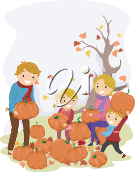 Illustration of a Stickman Family Carrying Pumpkins