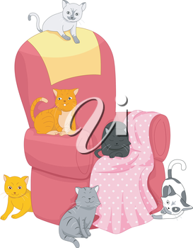 Illustration Featuring a Group of Cats Scattered Around an Empty Chair