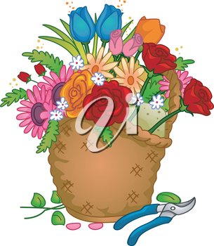 Colorful Illustration of a Basket of Arranged Flowers