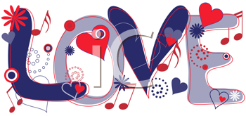 Royalty Free Clipart Image of the Word Love With Hearts and Musical Notes
