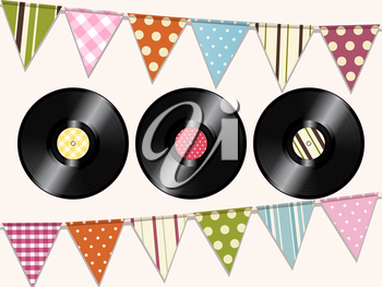 Vintage Vinyl Records Background with Bunting