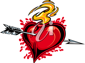 Red heart with arrow for tattoo design