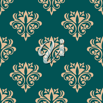Pretty green retro floral motif wallpaper design in a seamless vector pattern in square format