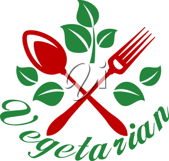 Red colored fork and spoon representing restaurant sign with green colored leaves and text