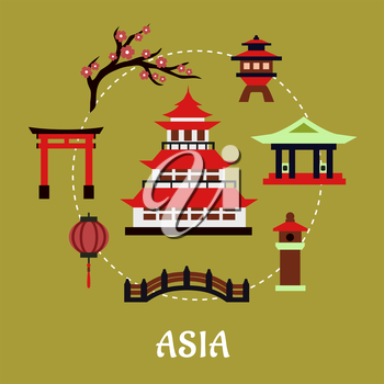 Japan travel infographic in flat style showing traditional japanese pagoda with red roof surrounded by blossoming branch of sakura, torii gate, paper lantern, temple and bridge on green background wit