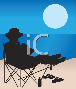 Royalty Free Clipart Image of a Silhouetted Woman at the Beach