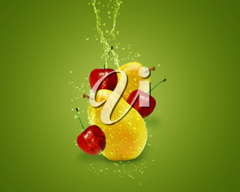 Royalty Free Photo of a Fresh Pears and Cherries on a Green Background With Splashes of Water