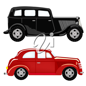 Royalty Free Clipart Image of Two Vintage Cars