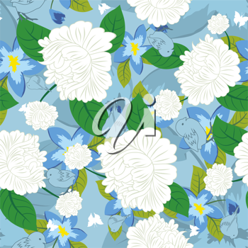 Seamless vector floral pattern. For easy making seamless pattern just drag all group into swatches bar, and use it for filling any contours.