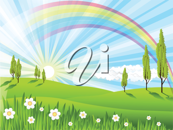 Royalty Free Clipart Image of a Summer Landscape