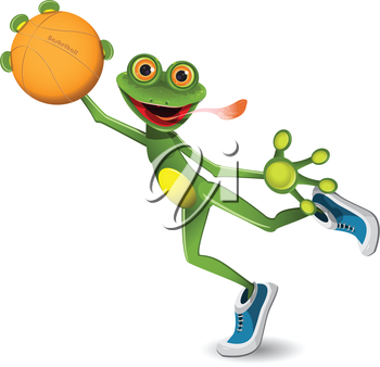 Royalty Free Clipart Image of a Frog or Playing Basketball