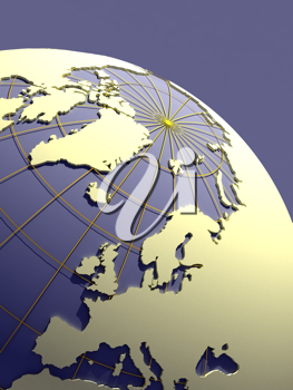 earth with extruded continents - 3d illustration