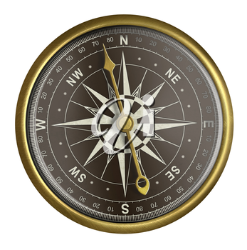 old golden compass with dark face isolated on white