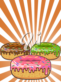 Royalty Free Clipart Image of Donuts