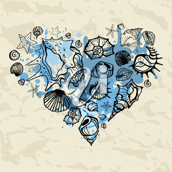 Heart of shells. Hand drawn vector illustration