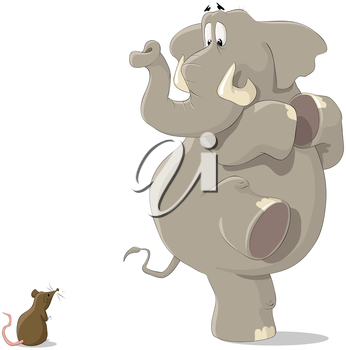 Royalty Free Clipart Image of an Elephant and a Mouse