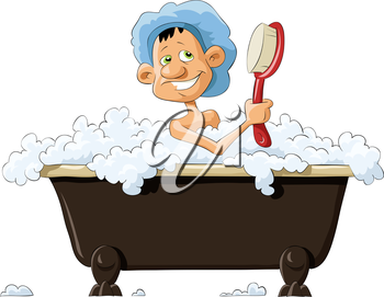 Royalty Free Clipart Image of a Man Bathing