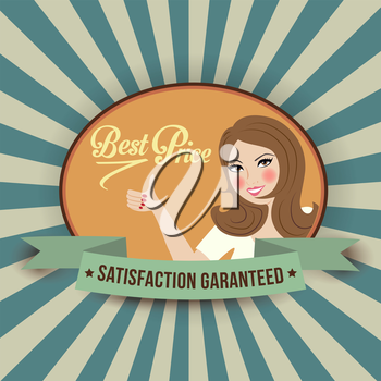 retro illustration with a  woman and best price message, vector format