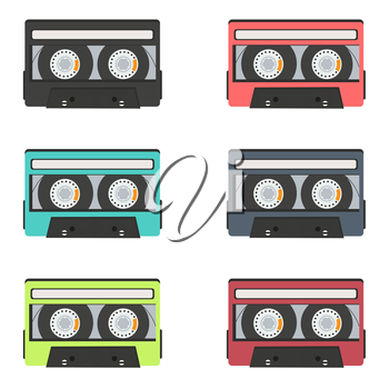 collection of retro audio tapes isolated on white background, vector illustration