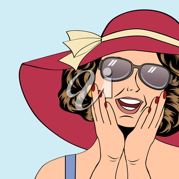 popart retro woman with sun hat in comics style, vector summer illustration