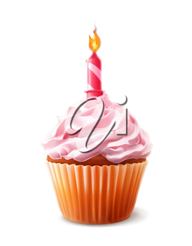 Festive cupcake with candle, detailed vector