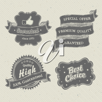 Vintage hand-drawn labels collection on textured paper. Vector illustration, EPS10
