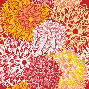 Floral creative seamless pattern in autumn colors