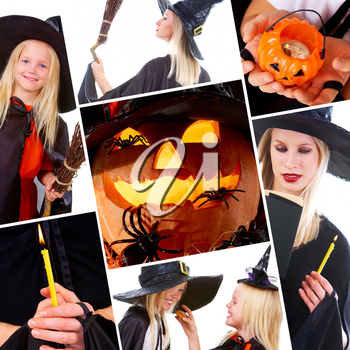 Halloween collage with pumpkin, spiders and people in black costumes