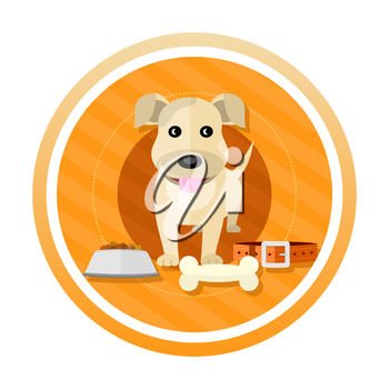 Hungry dog about to eat a bowl of dog food. Concept in cartoon style