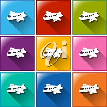 A set of 9 colorful icons with shadows