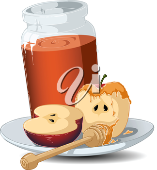 Royalty Free Clipart Image of a Jar of Honey and an Apple