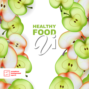 Healthy Food. Slice of Apple. Seamless Pattern. Vector illustration