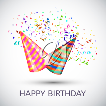 Happy birthday Hats and Confetti Surprise Background. Vector illustration