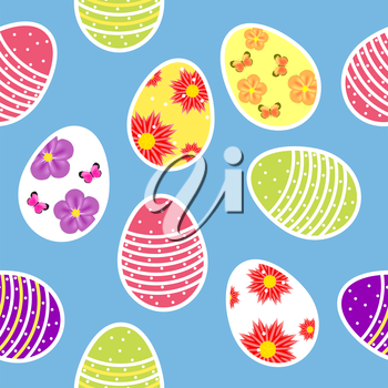 Vector illustration seamless pattern background with  easter eggs. EPS10