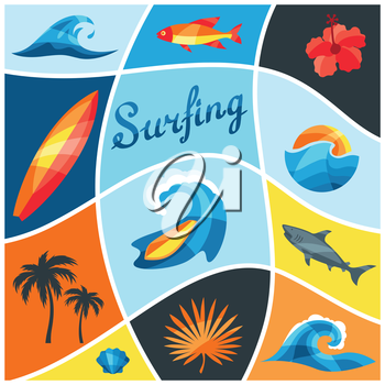 Background with surfing design elements and objects.